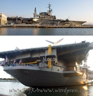Side view and front view of the USS Midway