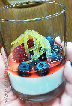 Basil Panna Cotta with Strawberry Consomme