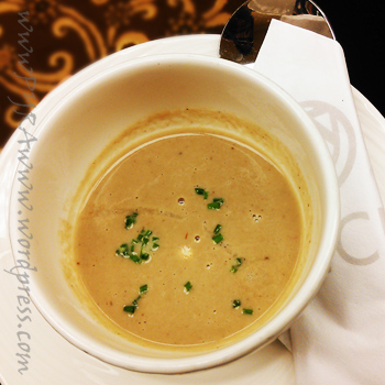 The Wild Mushroom Soup is simple in appearance but flavorful