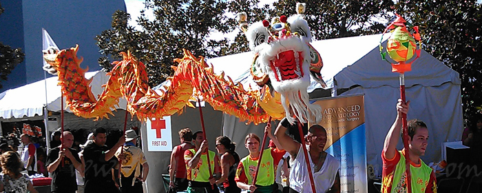 Flying dragon weaving through the tents