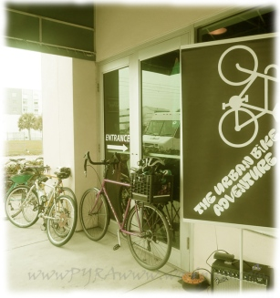Entrance to the Pour House with bikes leaning