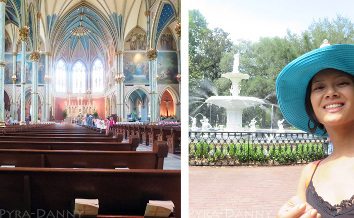 (Left) Inside the Cathedral (right) Selfie at the fountain
