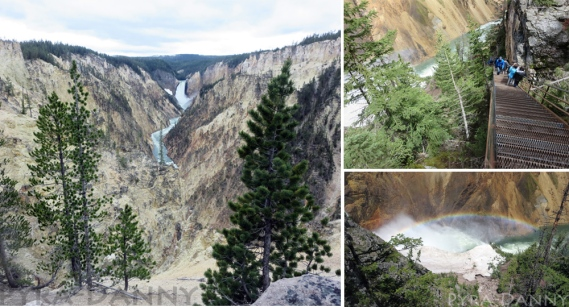 (Left) Artist Point view from the observation Point (Top right) Stairs down Uncle Tom's Trail (Bottom Right) Rainbow over Lower Falls