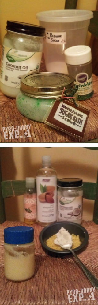 [Top] Ingredients for my mint Sugar Bath Scrub [Bottom] Ingredients for my oil-based Lotion at left
