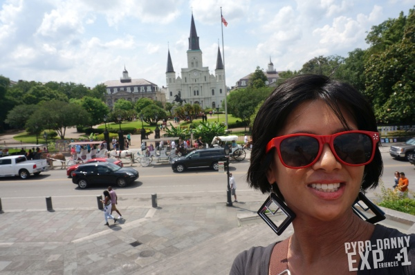 This picture is a must-- Jackson Square in the back with the St. Louis Cathedral visible.