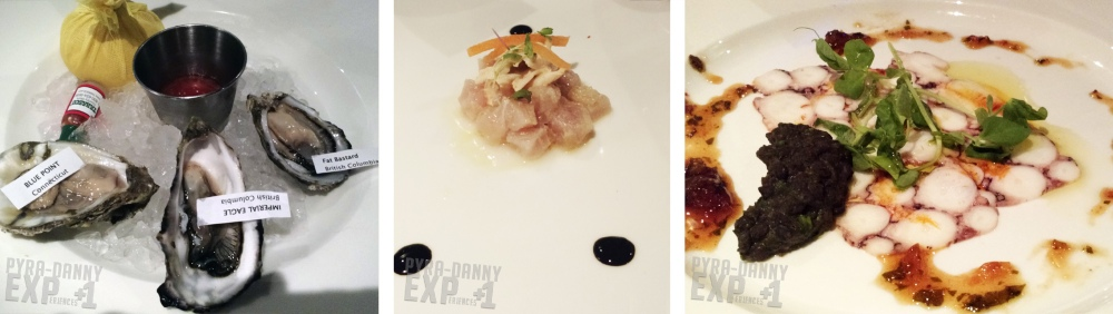 First courses from left to right: Oysters, Wahoo Tartare & Peekytoe Crab, Octopus