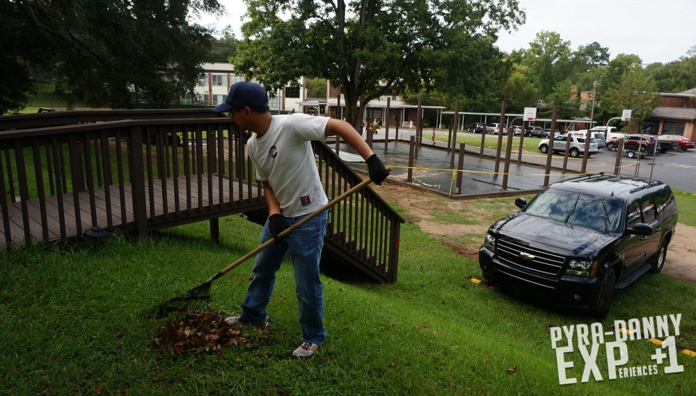 Raking leaves at Blessed Sacrament [Giving Back to Tallahassee | PyraDannyExperiences.com]