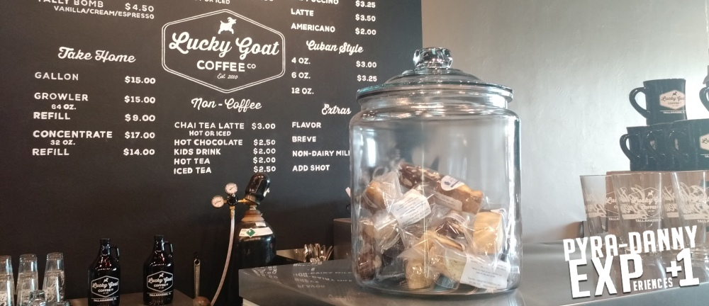 Lucky Goat Coffee counter [Giving Back to Tallahassee | PyraDannyExperiences.com]