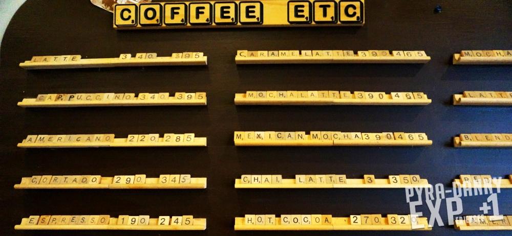 Plaine Coffee menu board Scrabble [Rainy Last Day in Alpine, TX | PyraDannyExperiences.com]