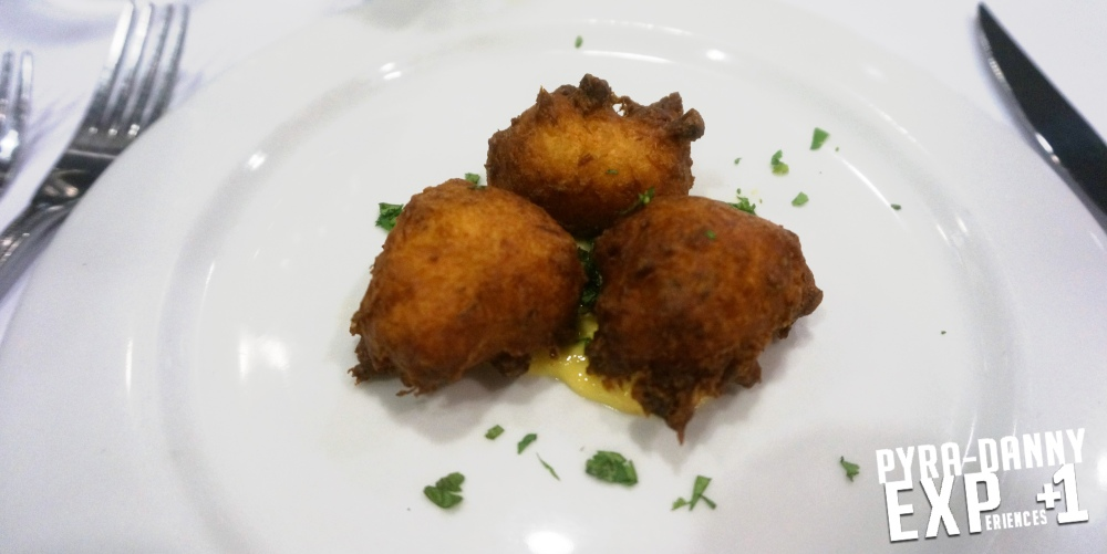 Trio of Cod Fritters [Student Run Restaurant the Tutored Chef | PyraDannyExperiences.com]