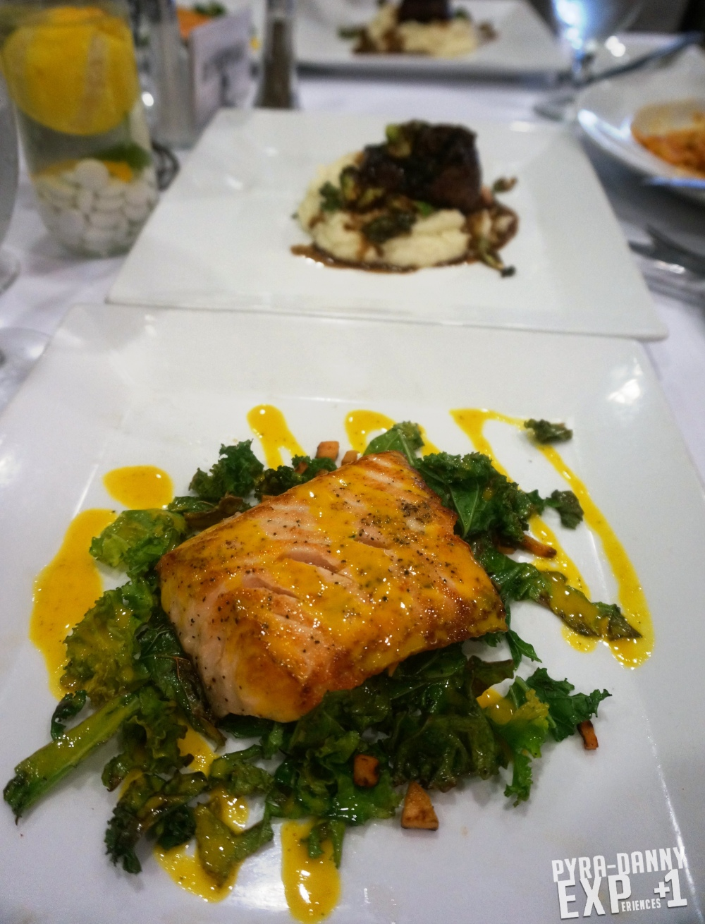 Salmon Salad and the Steak Entree [Student Run Restaurant the Tutored Chef | PyraDannyExperiences.com]