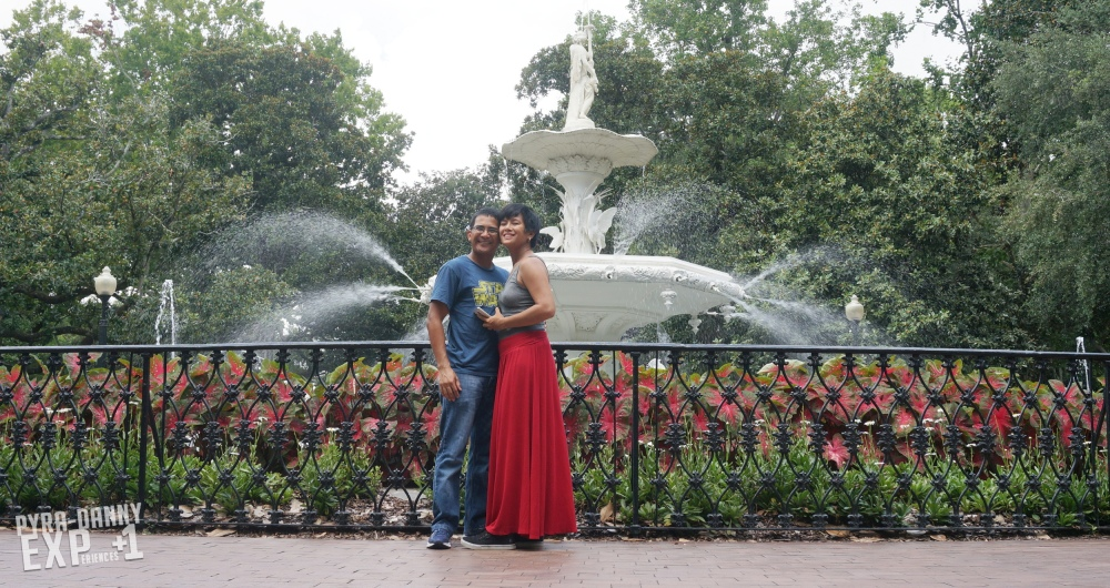 Posing at the Forsyth Fountain [Savannah Whirlwind | PyraDannyExperiences.com]