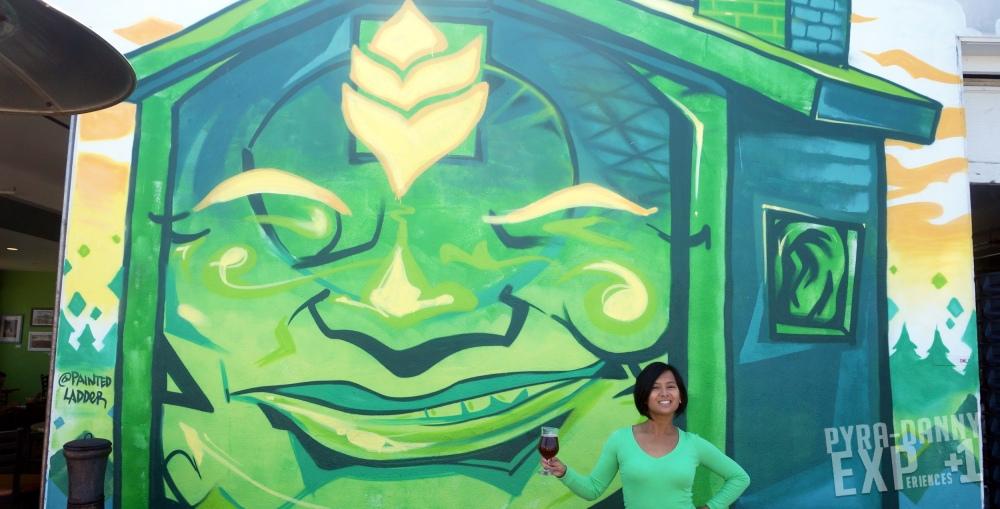 Shanty Shack Brewing mural and a beer [Exploring Santa Cruz | PyraDannyExperiences.com]
